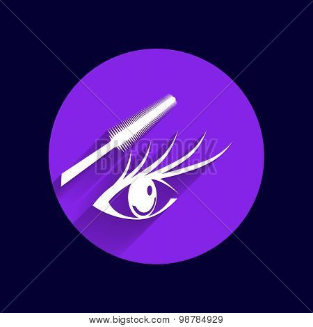 Woman eye beautiful makeup long eyelashes. Mascara Brush