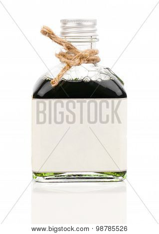 A Bottle Of Shower Bath Oil (algae Bath, Herbal Infusions) Isolated On White
