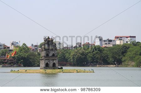 Turtle Tower in center of the Hoan Kiem lake