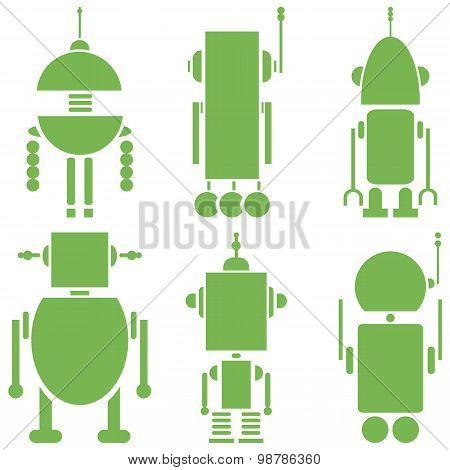 Plain Vintage retro robots 2 icons set in green  set of 6  ( set A)
