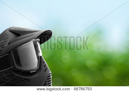 Paintball Mask With Green Background