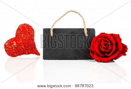 Blackboard With Rose Flowers And Heart, On White Background