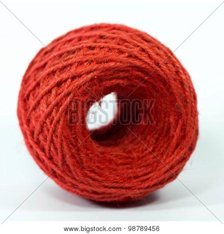red roll of hemp rope