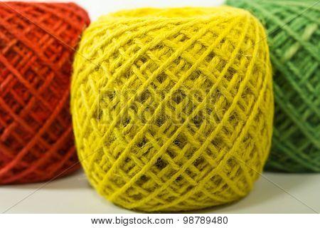 colorful rolls of hemp rope