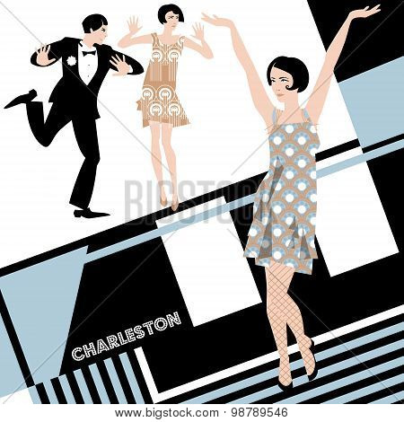 The Charleston. Retro Dancers. Art-deco.