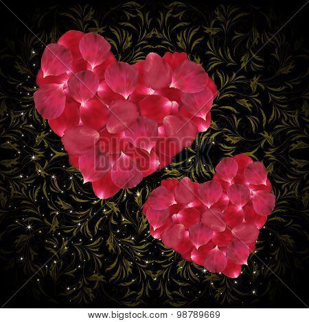 Hearts Of Pink Rose Petals