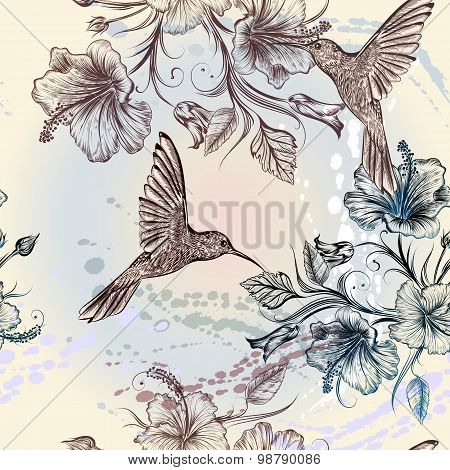 Vector Seamless Pattern With Birds And Flowers