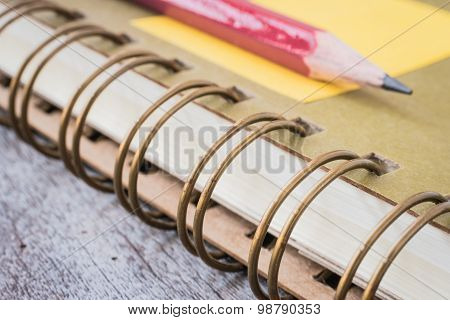 Ring Binder notebook on wooden.