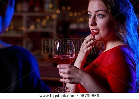 Portrait Of Woman At Bar
