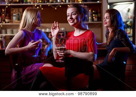 Brunette With Friends In Bar