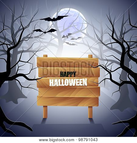 Foggy Forest With Wooden Sign Halloween Background
