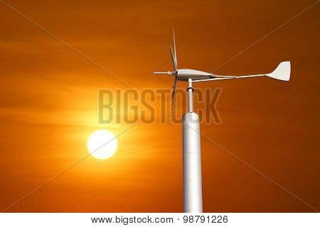 Wind Turbine For Renewable Energy On Beautiful Sky Background
