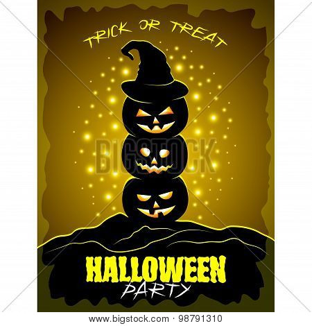 Halloween Party Poster With Three Pumpkins