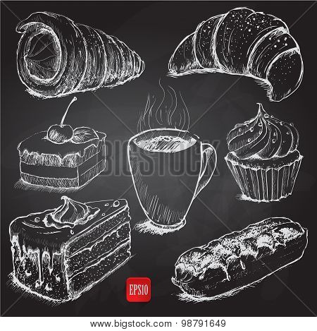confectionery. set of vector sketches on chalkboard