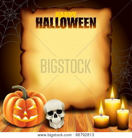 Halloween Paper With Pumpkin, Skull And Candles
