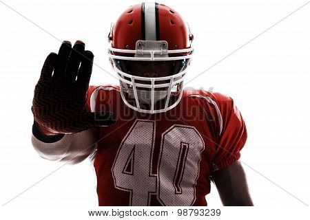 Sportspan holding hand raised.
