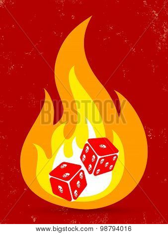 two dice with in fire