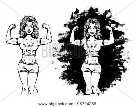 fitness girl in comics style