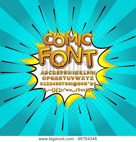 Comic Pop Art Comic Font Vector Illustration