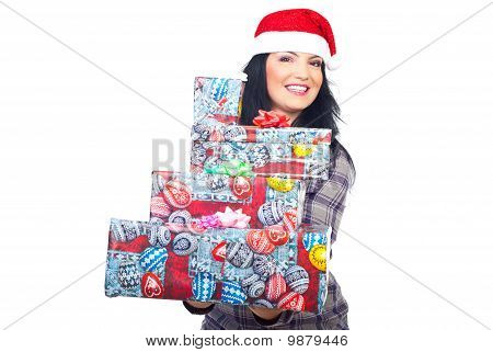Beauty Woman In Santa Hat Giving Gifts