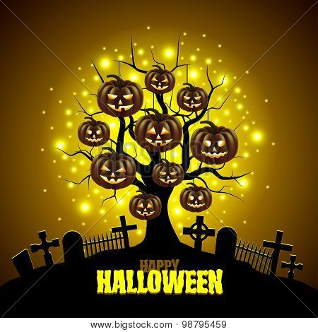 Magic Tree With Pumpkins Halloween Background