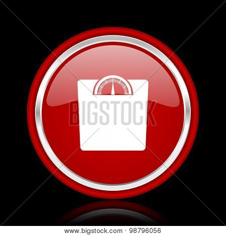 weight red glossy web icon chrome design on black background with reflection