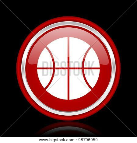 ball red glossy web icon chrome design on black background with reflection