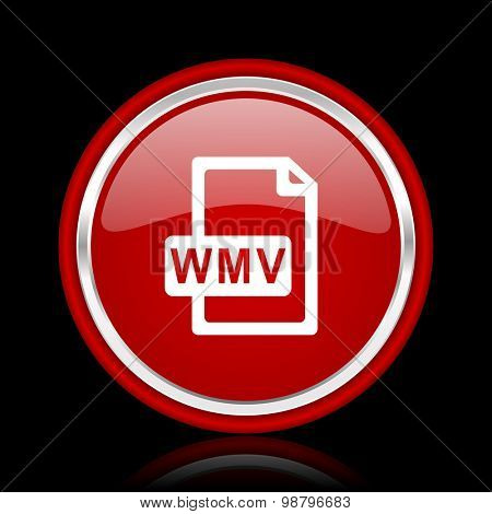 wmv file red glossy web icon  chrome design on black background with reflection