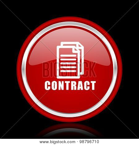contract red glossy web icon chrome design on black background with reflection
