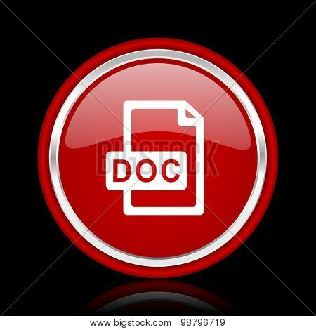 doc file red glossy web icon  chrome design on black background with reflection