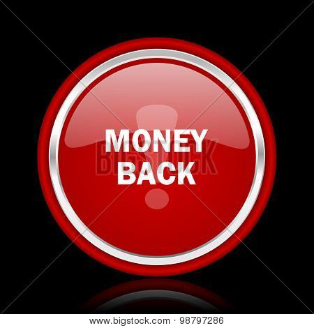 money back red glossy web icon chrome design on black background with reflection