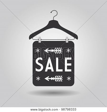 Clothing hangers SALE signage and banner icon on gray gradient background