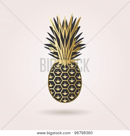 Single black and golden abstract pineapple icon with dropped shadow on pink gradient background