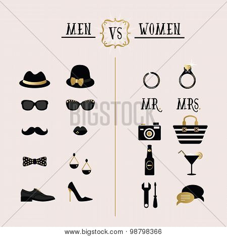 Black and golden hipster Men Vs Women accessories and design icons on pink background