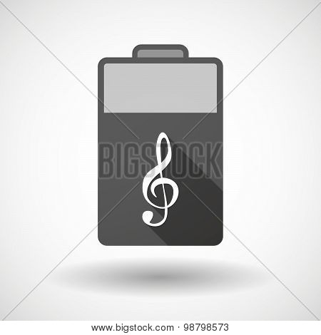 Isolated Battery Icon With A G Clef