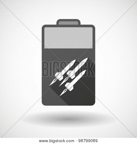 Isolated Battery Icon With Missiles