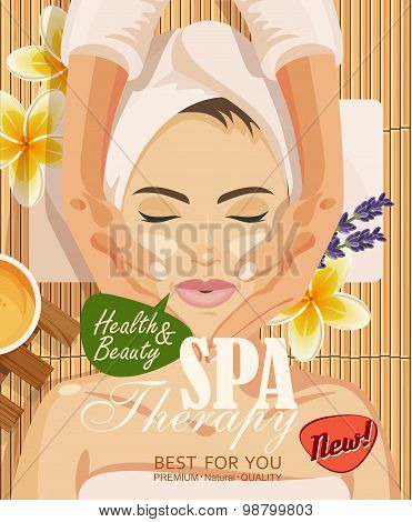 Stock vector illustration beautiful woman in spa salon