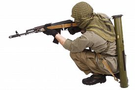 pic of ak-47  - shooter with AK 47 isolated on white - JPG