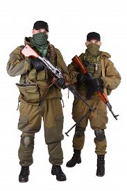 picture of ak-47  - insurgents with AK 47 and RPD machine gun isolated on white background - JPG