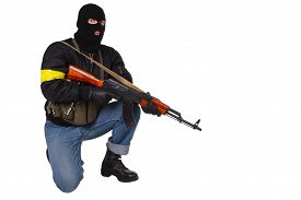 picture of ak-47  - gunman with AK 47 isolated on white background - JPG