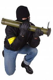 picture of grenades  - gunman with bazooka grenade launcher isolated on white background - JPG