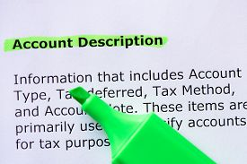 foto of annal  - Account Description words highlighted on the white background - JPG