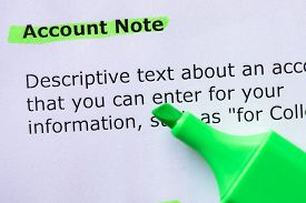 image of annal  - Account Note words highlighted on the white background - JPG