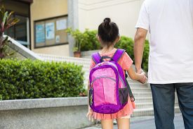 pic of father child  - Father Walking To School With Children together - JPG