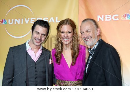 LOS ANGELES - JUL 30:  Johnny Iuzzini, Dannielle Kyrillos, & Hubert Keller arrive(s) at the 2010 NBC Summer Press Tour Party at Beverly Hilton Hotel on July 30, 2010 in Beverly Hills, CA...