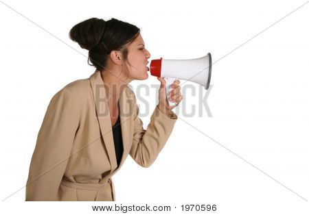Crabby Business Woman Screaming Into A Megaphone