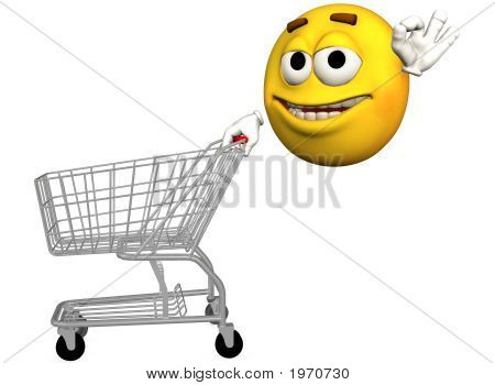 Smiley Emoticon Shopper Shopping Cart