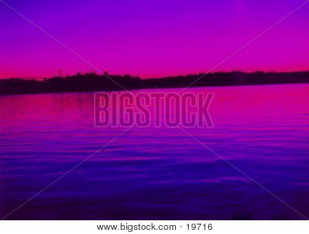 Purple Water Sunset