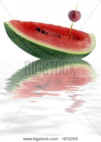 Water Melon Slice And Cherry