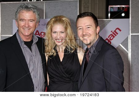 LOS ANGELES - SEP 22:  Patrick Duffy, daughter-in-law Emily Cutler, and Son Conor Duffy arrive at the